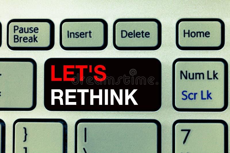 La demostración conceptual de la escritura de la mano dejó s es repiensa El texto de la foto del negocio un cambio a recordar rec foto de archivo libre de regalías