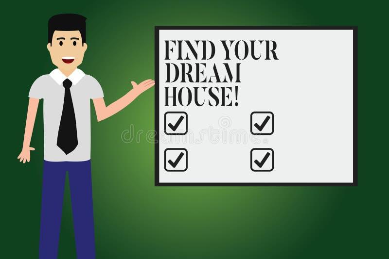 La demostración conceptual de la escritura de la mano encuentra su casa ideal Texto de la foto del negocio que busca para el hoga ilustración del vector