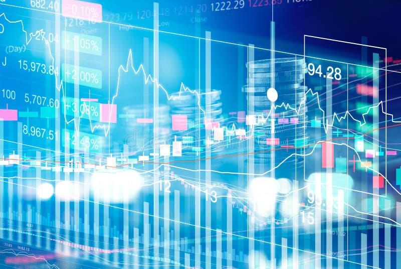 La demostración de la carta del mercado de acción rema la exhibición de la moneda del gráfico imágenes de archivo libres de regalías
