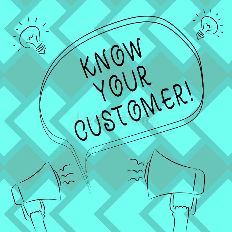 La demostración de la muestra del texto conoce a su cliente La foto conceptual que verifica a clientes de la identidad y que eval stock de ilustración