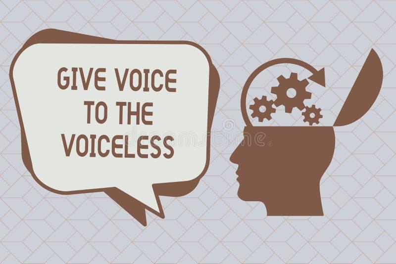 La demostración de la muestra del texto da voz al sordo La foto conceptual habla hacia fuera en nombre defiende el vulnerable stock de ilustración