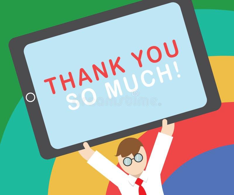 La demostración de la muestra del texto le agradece tanto Expresión conceptual de la foto de los saludos de la gratitud del aprec libre illustration