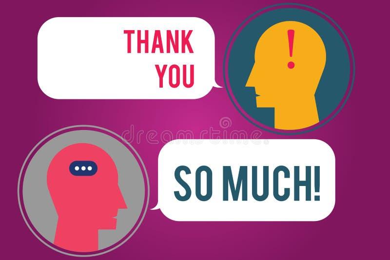 La demostración de la muestra del texto le agradece tanto Expresión conceptual de la foto de los saludos de la gratitud del mensa libre illustration