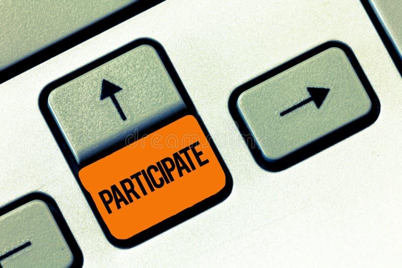 La demostración de la muestra del texto participa La foto conceptual participa adentro o llega a estar implicada en un voluntario fotos de archivo