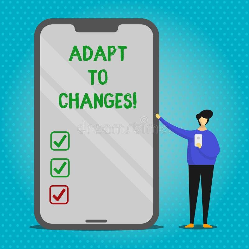 La demostración de la muestra del texto se adapta a los cambios Adaptación innovadora de los cambios de la foto conceptual con el libre illustration