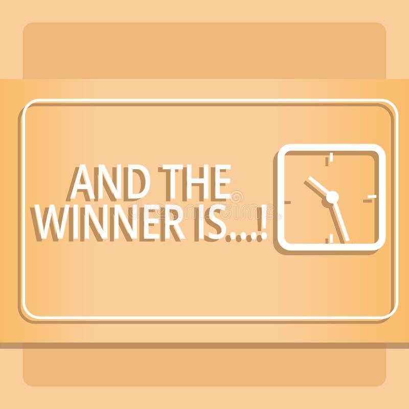 La demostración de la muestra del texto y el ganador es Anunciación conceptual de la foto quién consiguió el primer lugar en la c ilustración del vector