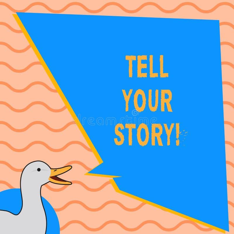 La demostración de la nota de la escritura cuenta su historia Foto del negocio mostrando expresando sus sensaciones narrando la e ilustración del vector