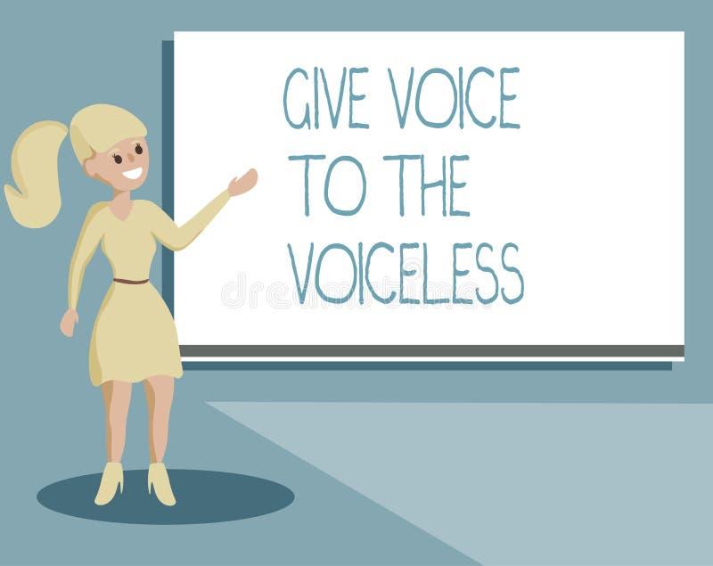 La demostración de la nota de la escritura da voz al sordo La exhibición de la foto del negocio habla hacia fuera en nombre defie libre illustration