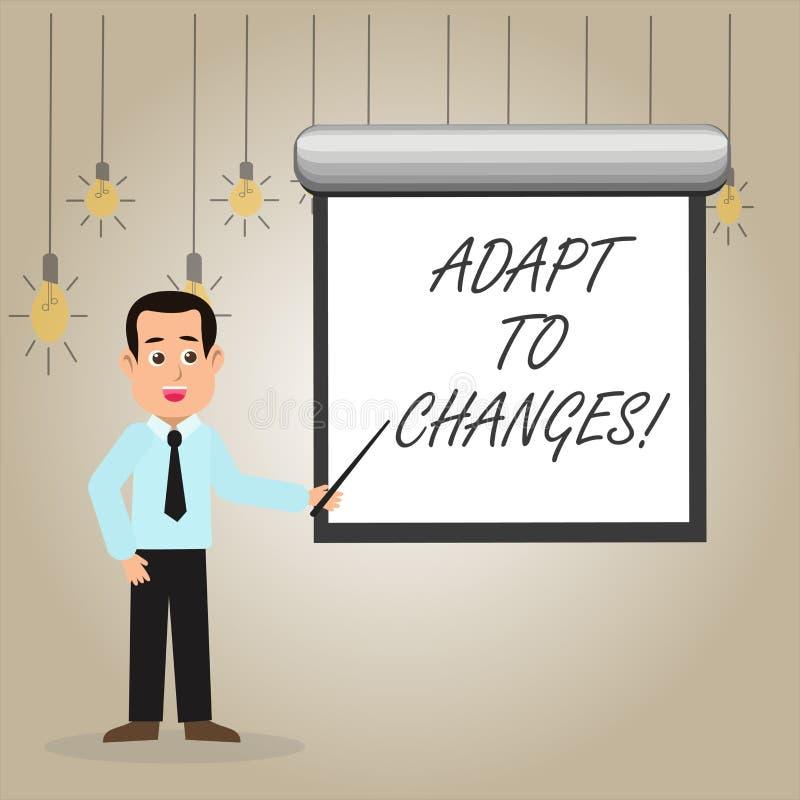 La demostración de la nota de la escritura se adapta a los cambios Foto del negocio que muestra la adaptación innovadora de los c stock de ilustración