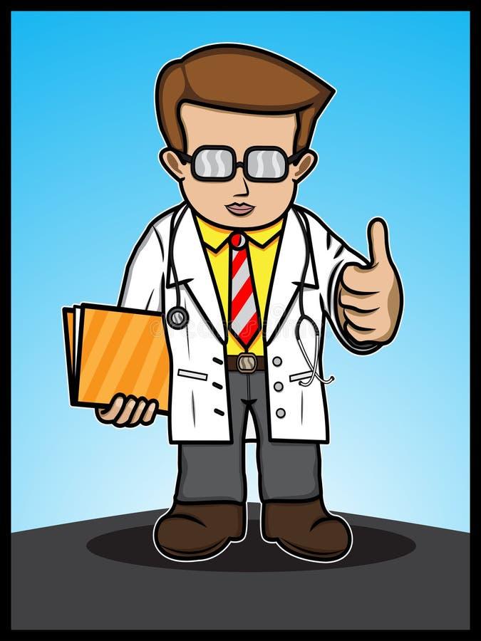 La demostración del doctor manosea con los dedos para arriba ilustración del vector