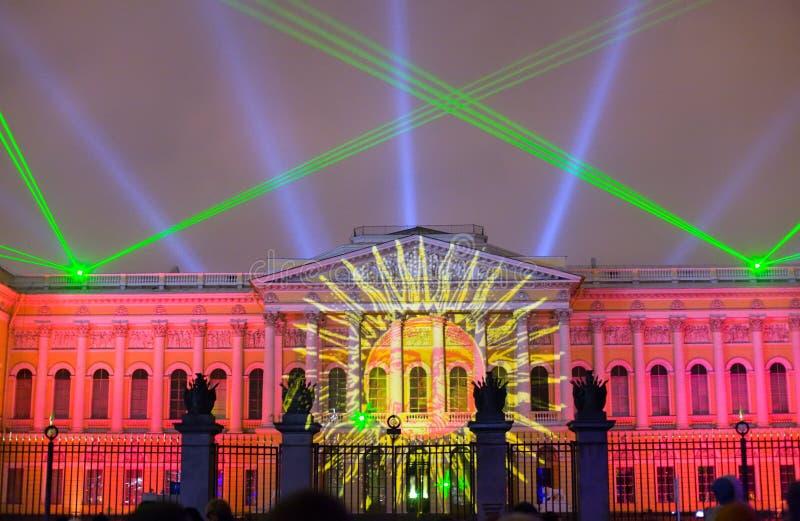 La demostración festiva del laser fotos de archivo libres de regalías