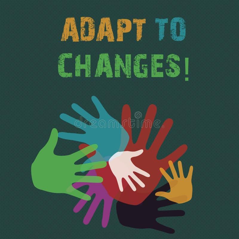 La demostraci?n conceptual de la escritura de la mano se adapta a los cambios Foto del negocio que muestra la adaptaci?n innovado stock de ilustración