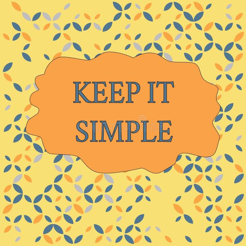 La demostraci?n de la muestra del texto lo mantiene simple Foto conceptual para hacer algo fácil entender y no de la manera de lu libre illustration