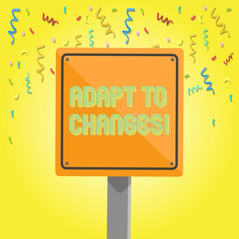 La demostraci?n de la muestra del texto se adapta a los cambios Adaptación innovadora de los cambios de la foto conceptual con el libre illustration