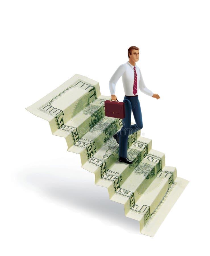 La denominación de 100 dólares americanos se dobla bajo la forma de escalera Un hombre con ropa de la oficina con una cartera en  ilustración del vector