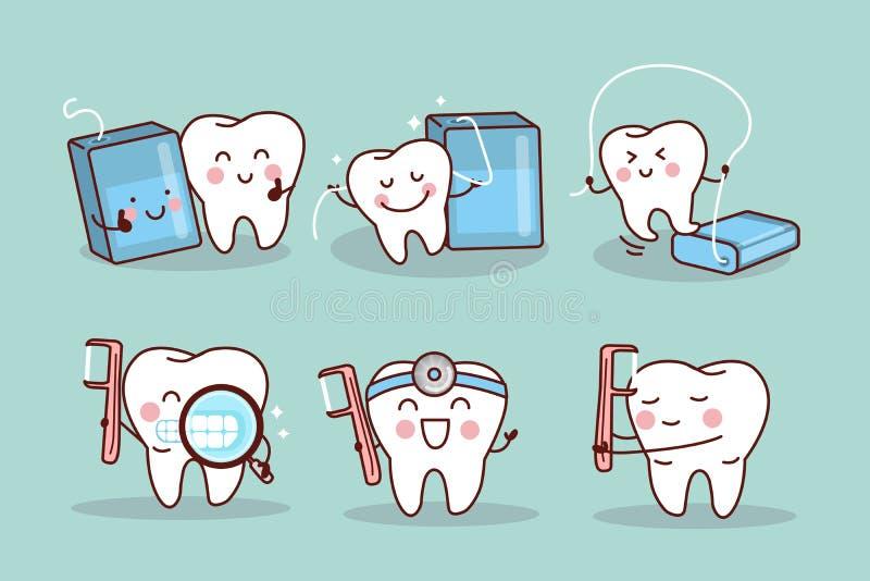 La dent avec la soie et nettoient illustration de vecteur