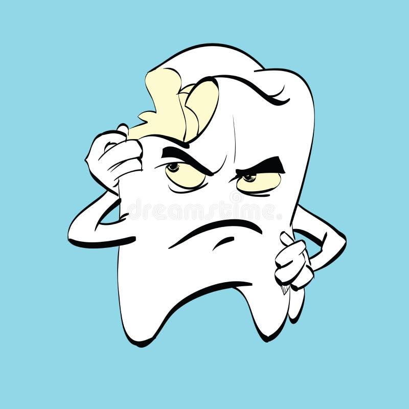 La dent douloureuse avec la carie, un caractère de bande dessinée illustration de vecteur