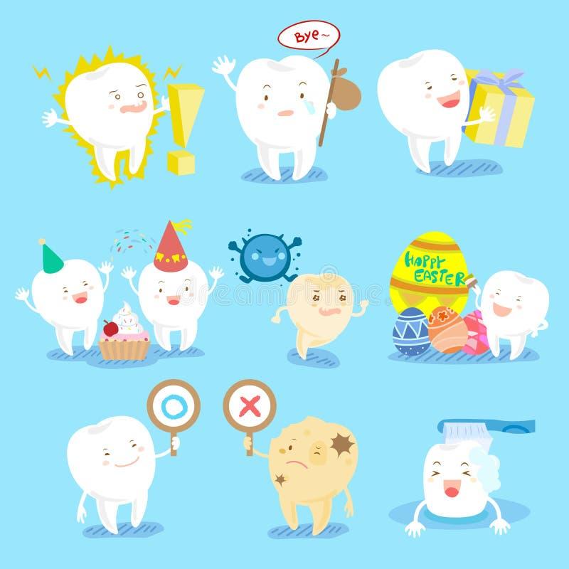 La dent font différentes émotions illustration stock