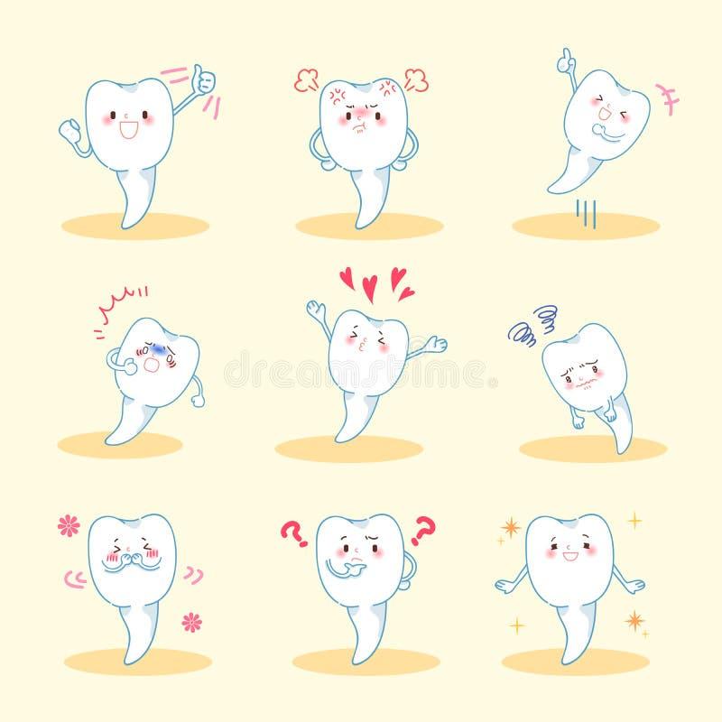 La dent font l'émotion différente illustration de vecteur