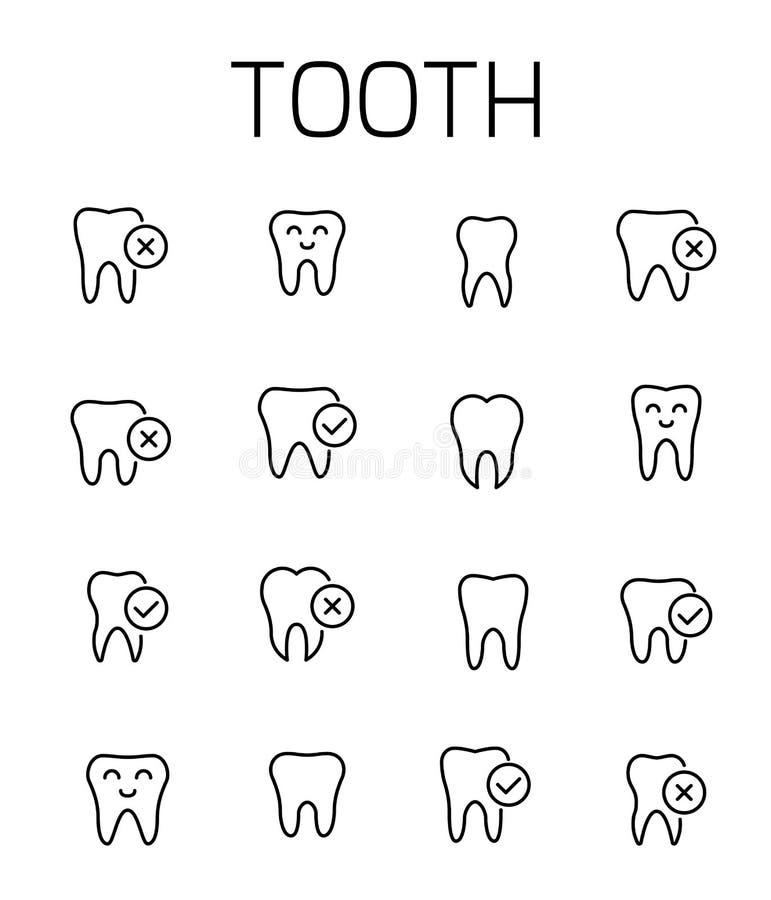 La dent a rapporté l'ensemble d'icône de vecteur illustration de vecteur