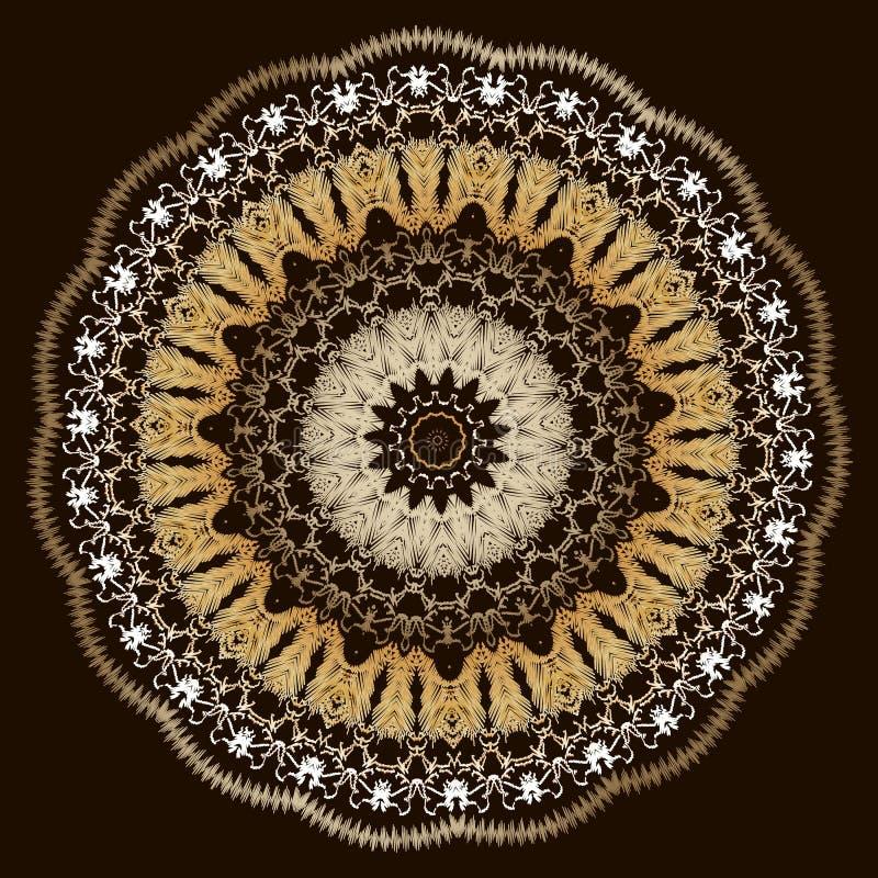 La dentelle de broderie a donné au modèle une consistance rugueuse floral de mandala Ornement baroque de tapisserie colorée de ve illustration stock