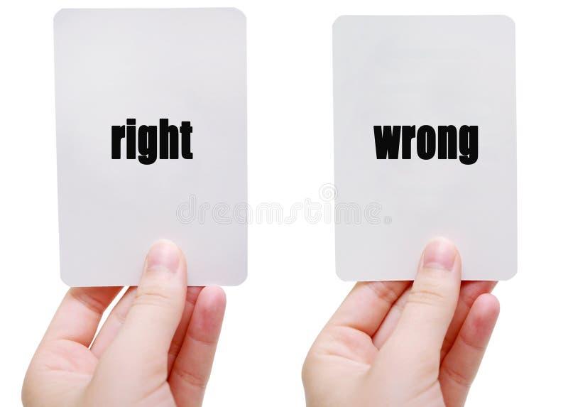 La derecha/incorrecto imágenes de archivo libres de regalías