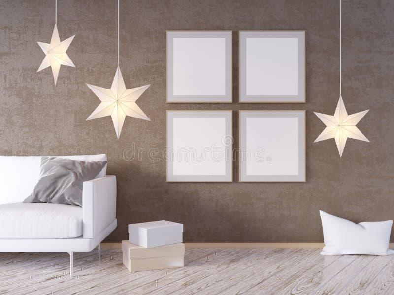 La derisione della parete interna del salone su con il sofà grigio del tessuto, i cuscini ed il natale star su fondo bianco, 3D l royalty illustrazione gratis