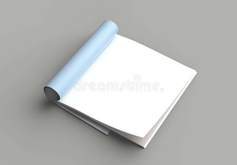 La derisione quadrata della rivista, dell'opuscolo o del catalogo su ha isolato la pagina giusta illustrazione vettoriale