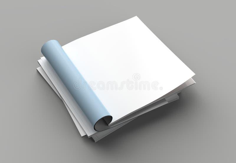 La derisione quadrata della rivista, dell'opuscolo o del catalogo su ha isolato la pagina giusta illustrazione di stock
