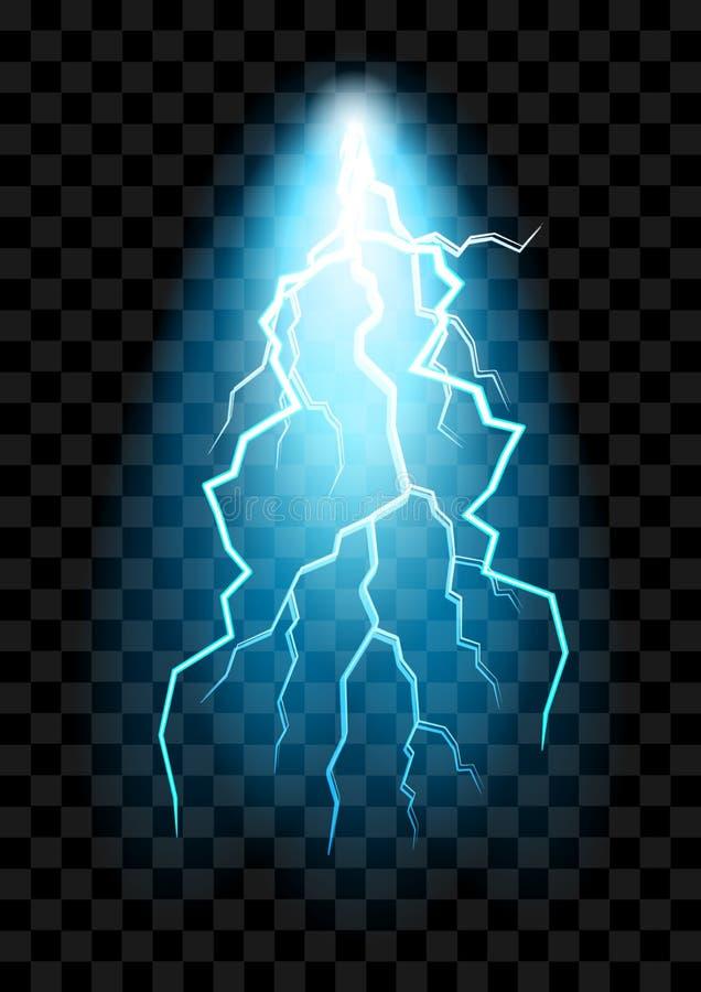 La descarga eléctrica realista chocó el efecto para el diseño ilustración del vector