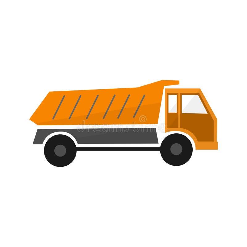 la descarga o el camión anaranjada del camión en el diseño plano, tipos transporta el coche, ejemplo de la industria, vehículo de stock de ilustración