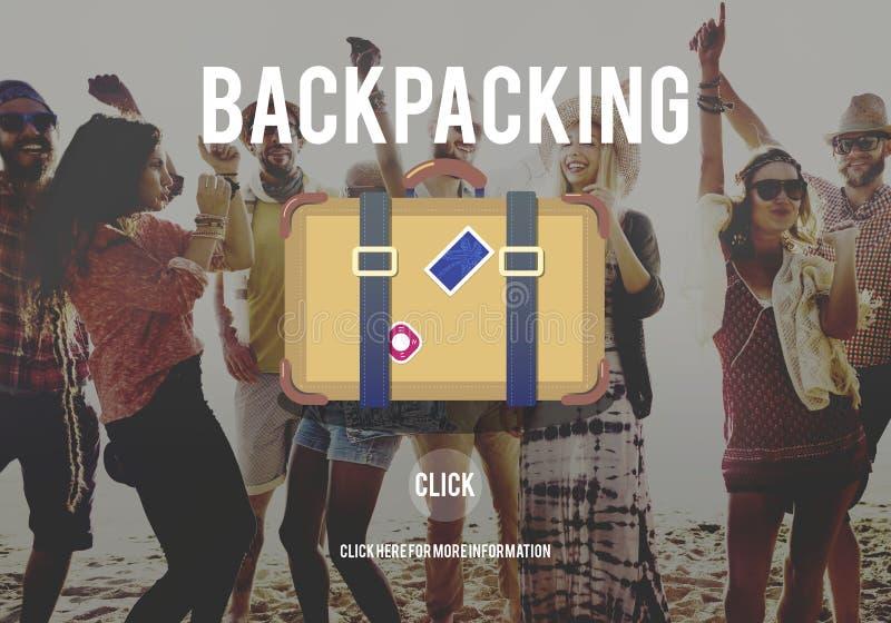 La destinazione Backpacking di viaggio di avventura vaga concetto immagine stock libera da diritti
