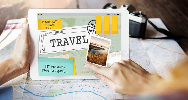 La destinazione di viaggio di viaggio esplora il concetto di giro fotografie stock libere da diritti