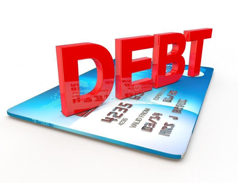 La dette sur une carte de crédit a coupé sur le blanc illustration stock
