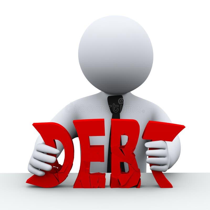 la deuda de la persona 3d libera concepto libre illustration