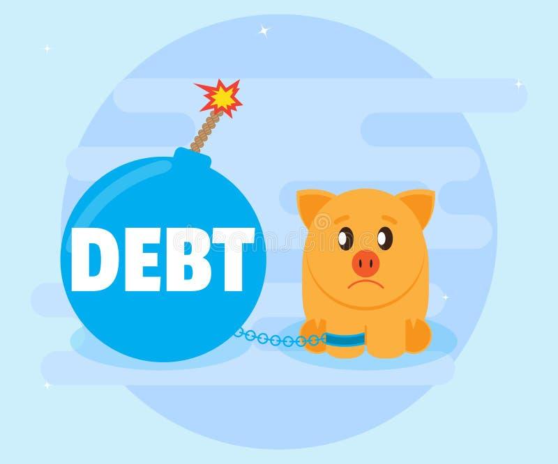 La deuda sin pagar es un problema grande Presta la inversión aventurada, pérdida de dinero no económica llevan a las malas deudas ilustración del vector