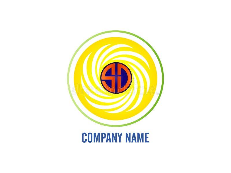 La deviazione standard di logo della lettera iniziale con la linea bianca di circonferenza Elemento di Logo Vector Graphic Brandi royalty illustrazione gratis