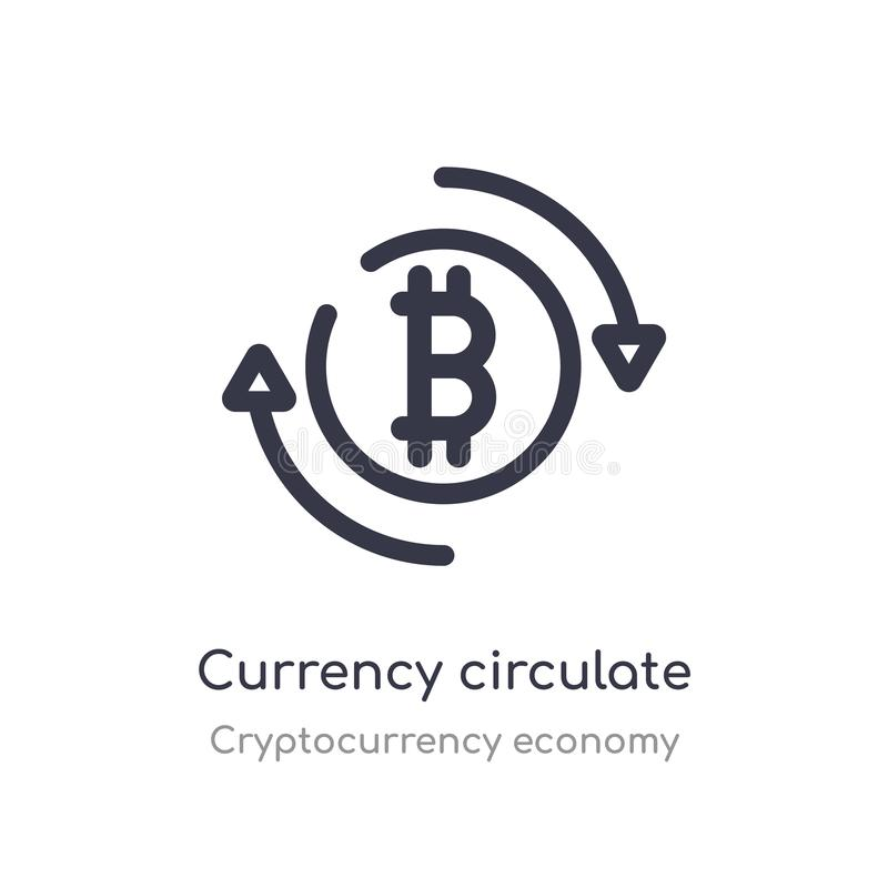 la devise circulent l'icône d'ensemble ligne d'isolement illustration de vecteur de collection d'?conomie de cryptocurrency r illustration stock