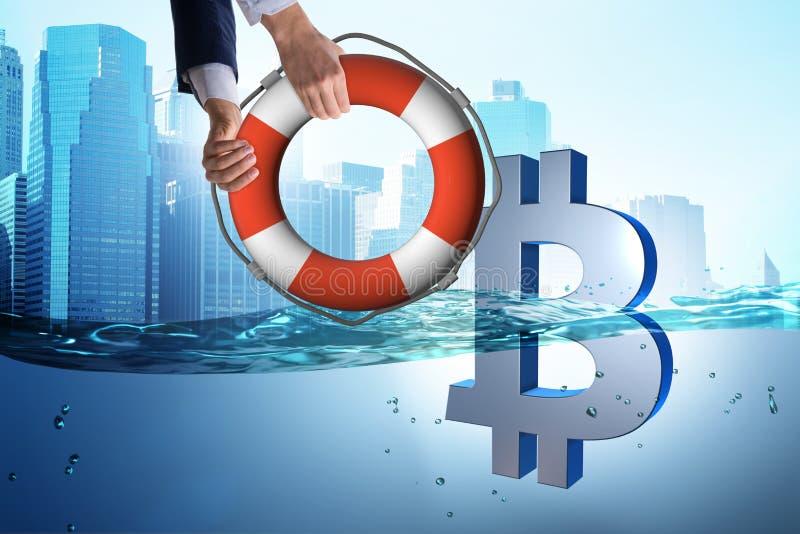 La devise de bitcoin d'économie d'homme d'affaires de l'inflation illustration de vecteur