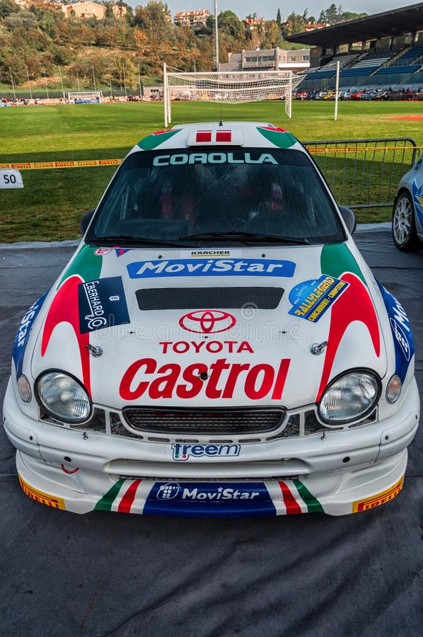 LA 1998 di corsa del da di vettura di della di raduno di vecchio del nel di TOYOTA COROLLA WRC LEGGENDA 2017 fotografia stock