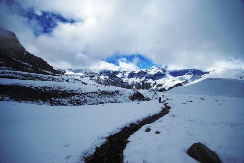 La di Thorung, Annapurna, Nepal fotografie stock libere da diritti