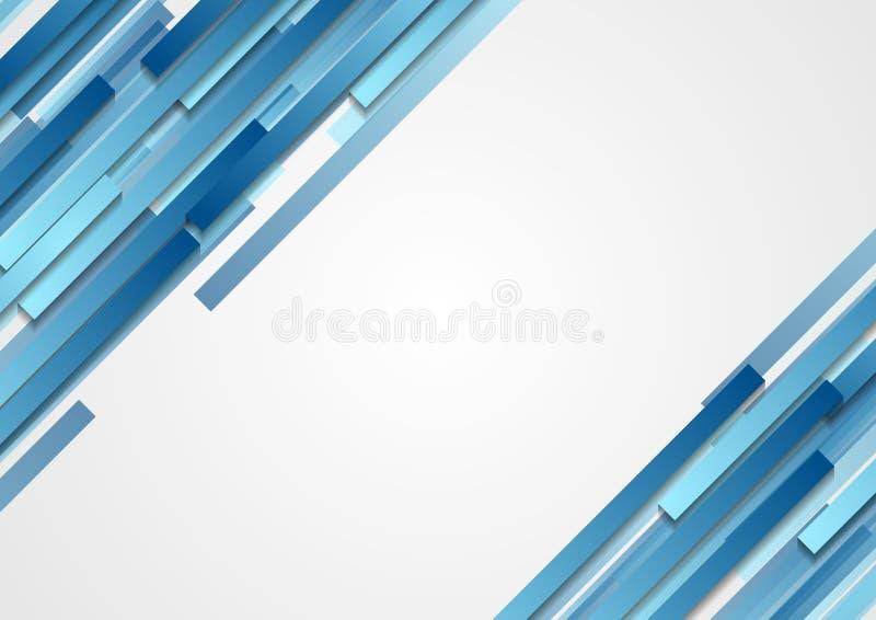 La diagonal abstracta geométrica azul de la tecnología raya el fondo ilustración del vector