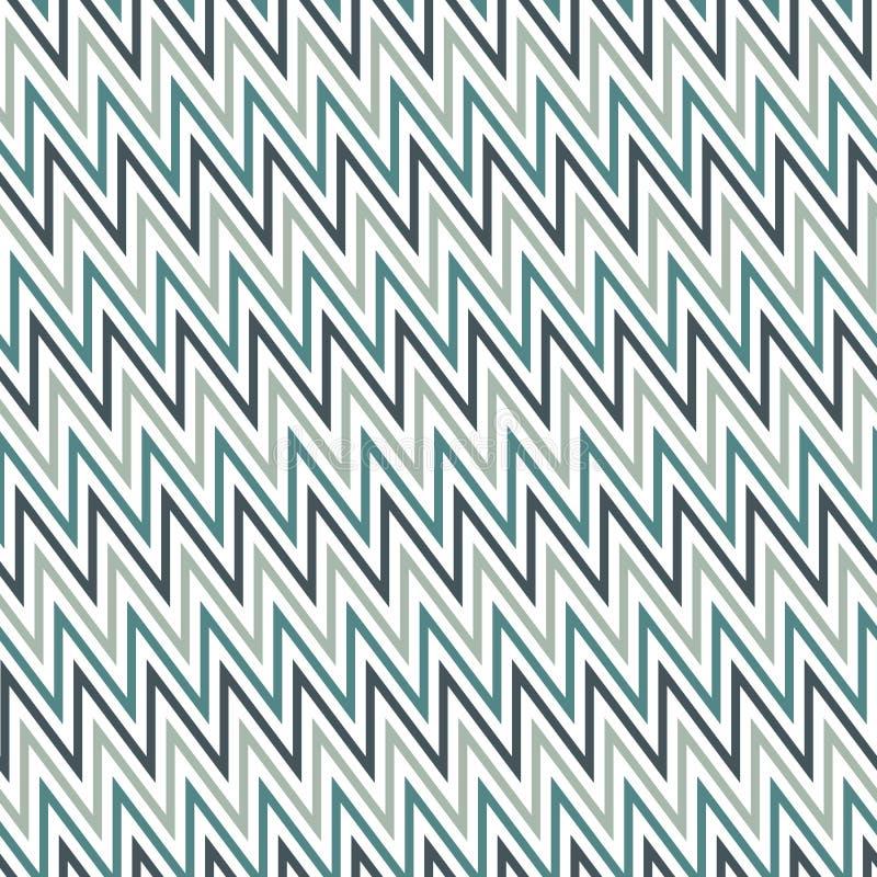 La diagonale di Chevron barra il modello senza cuciture con l'ornamento geometrico classico I colori blu zigzagano linee carta da illustrazione vettoriale