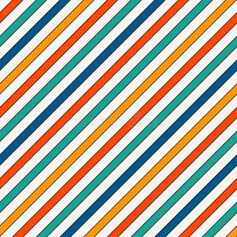 La diagonale vive de couleurs barre le fond abstrait Ligne inclinée mince papier peint Modèle sans couture avec le motif classiqu illustration libre de droits
