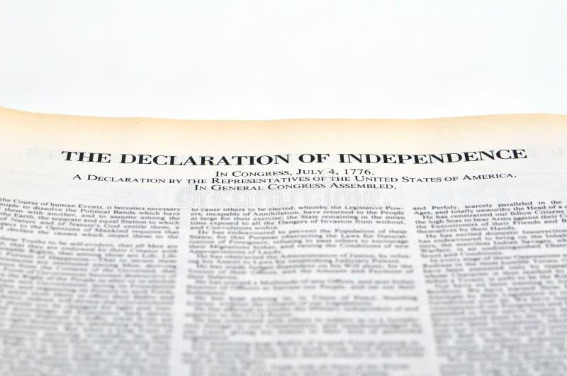 La dichiarazione di indipendenza immagine stock libera da diritti