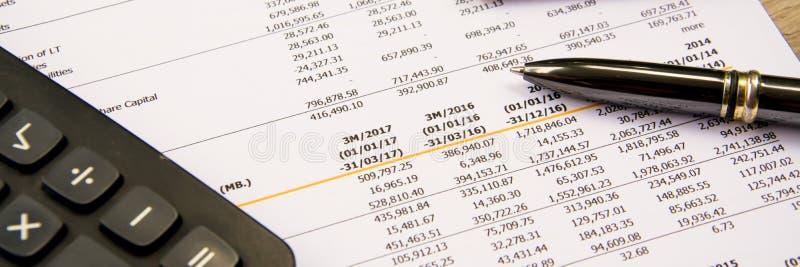 La dichiarazione finanziaria del bilancio ha letto e controlla il numero per vedere se c'è il analysi immagini stock libere da diritti