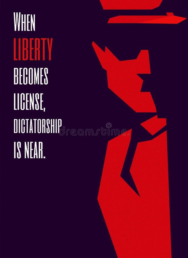 La dictadura es un cartel político Silueta del dictador Poder sobre el mundo libre illustration