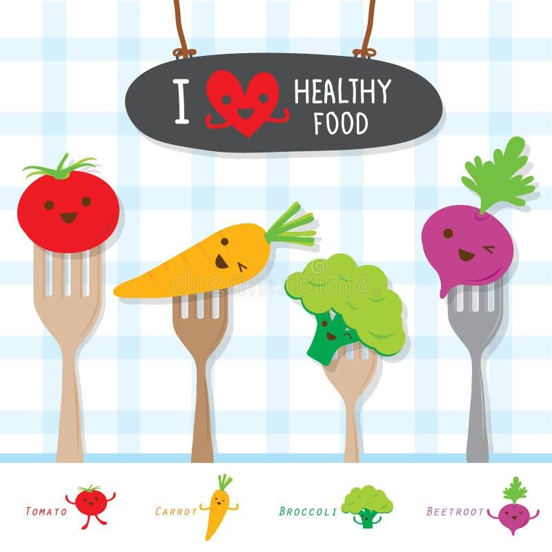 La dieta di verdure dell'alimento sano mangia il vettore sveglio del fumetto utile della vitamina immagine stock libera da diritti