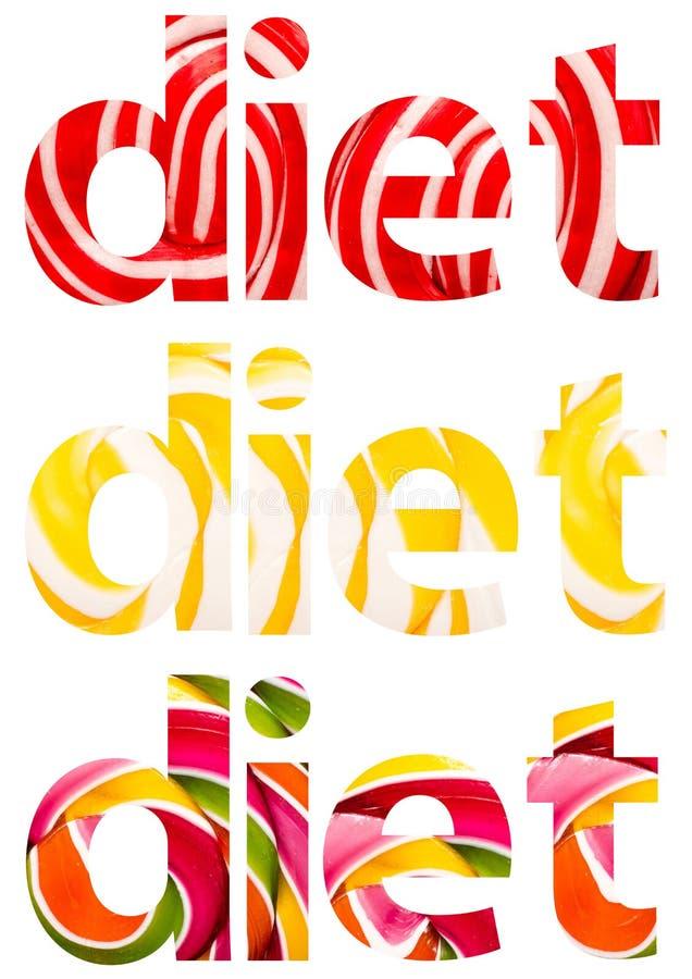 La dieta redacta el extracto fotografía de archivo