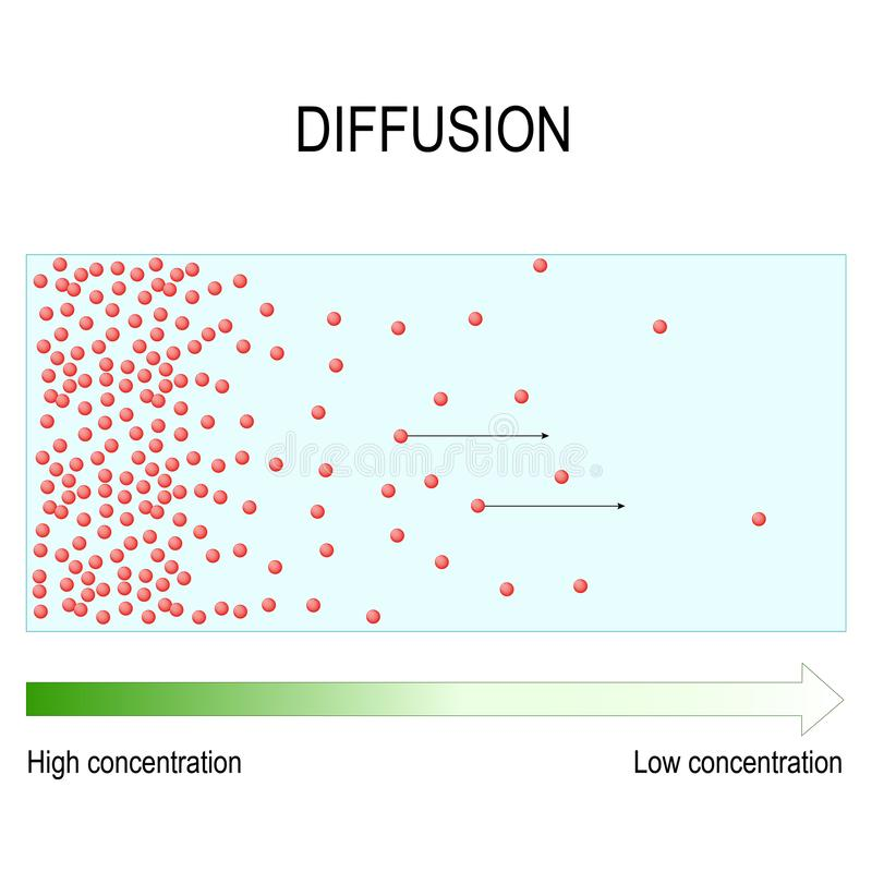 La diffusione è movimento delle molecole e degli atomi da una regione di più alta concentrazione ad una regione di concentrazione illustrazione di stock